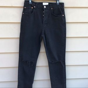 Free People Black High Rise Distressed Jeans Sz 31
